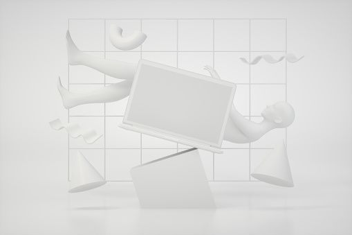 3d rendering of Blank screen laptop with Flying Geometric Shapes and Cyborg Woman on White Background.