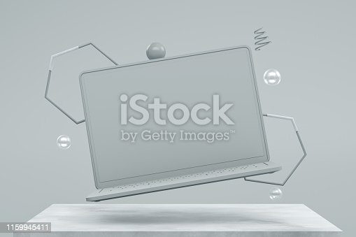 istock Blank screen laptop with Flying Spheres 1159945411