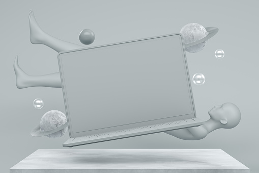 3d rendering of Blank screen laptop with flying objects on gray color background.