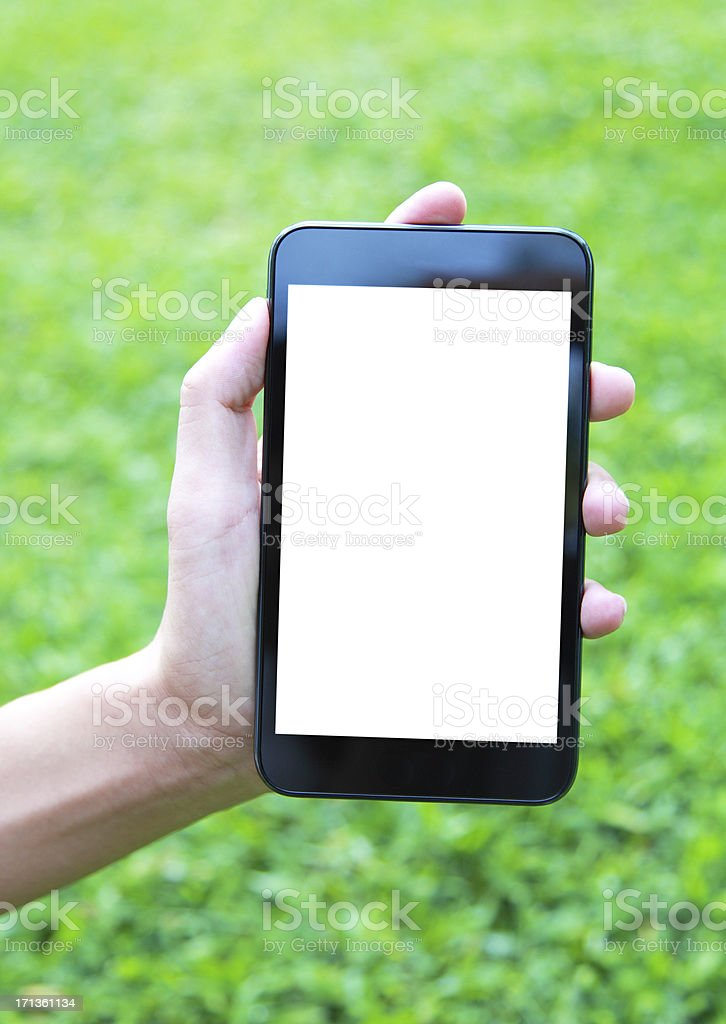 Blank screen mobile phone in hand isolated-XXL royalty-free stock photo