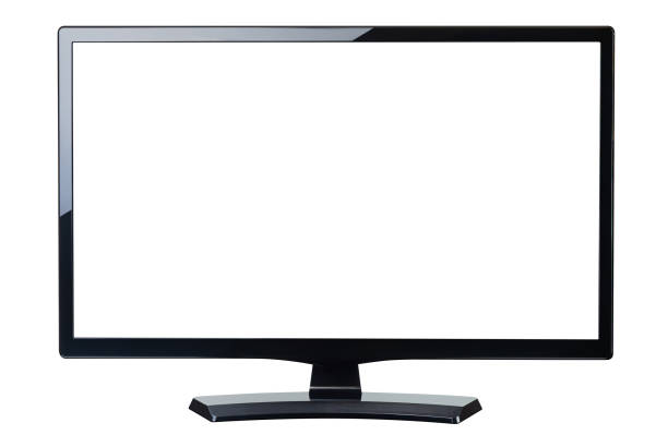 blank screen monitor tv isolated stock photo