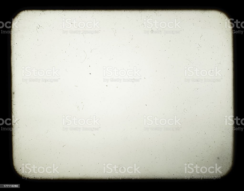 Blank screen of old slide projector. stock photo