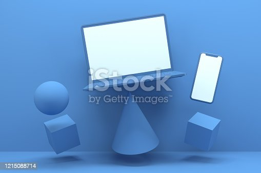 istock Blank Screen Smart Phone and Laptop with Geometric Shapes, Minimal Technology Concept, Zero Gravity 1215088714