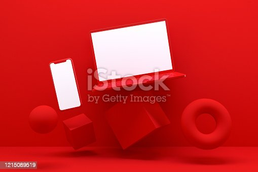 istock Blank Screen Smart Phone and Laptop with Geometric Shapes, Minimal Technology Concept, Zero Gravity 1215089519