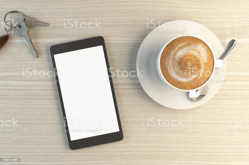 Blank Screen Smartphone On Wooden Desk royalty-free stock photo