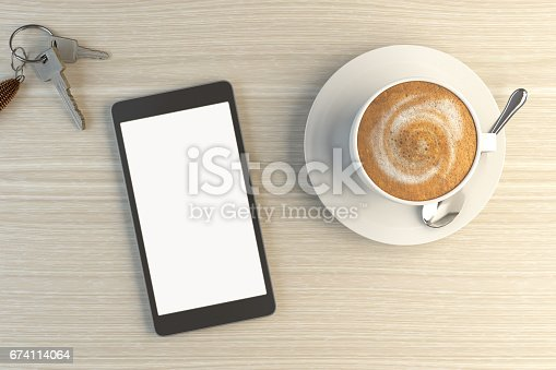 Blank Screen Smartphone On Wooden Desk ( 3d render )