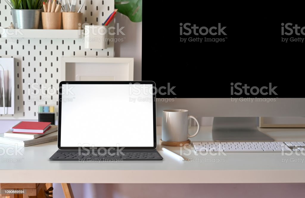 Blank Screen Tablet On Modern Minimalist Desk Workspace Table And Copy Space Stock Photo Download Image Now Istock