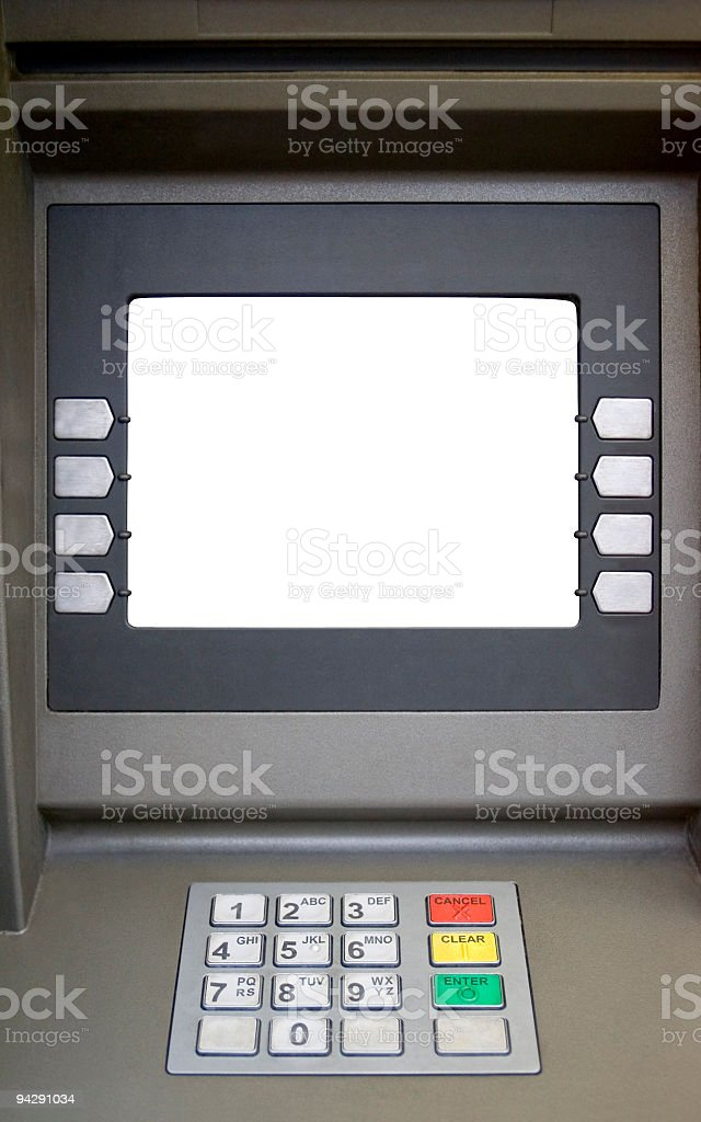 Blank screened bank teller machine royalty-free stock photo