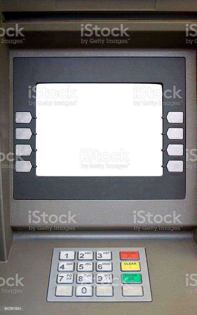Leere abgeschirmte Bankangestellter machine – Foto