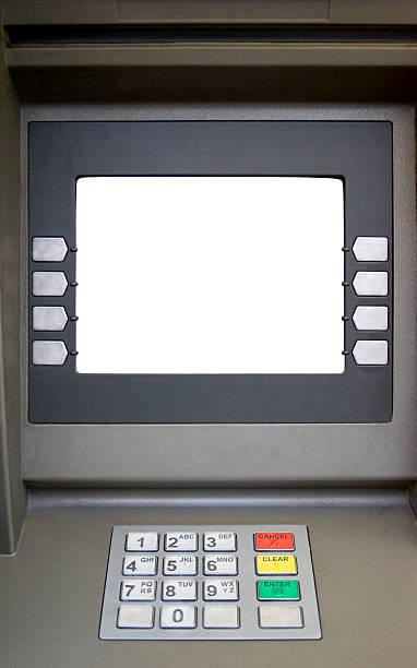 Blank screened bank teller machine stock photo