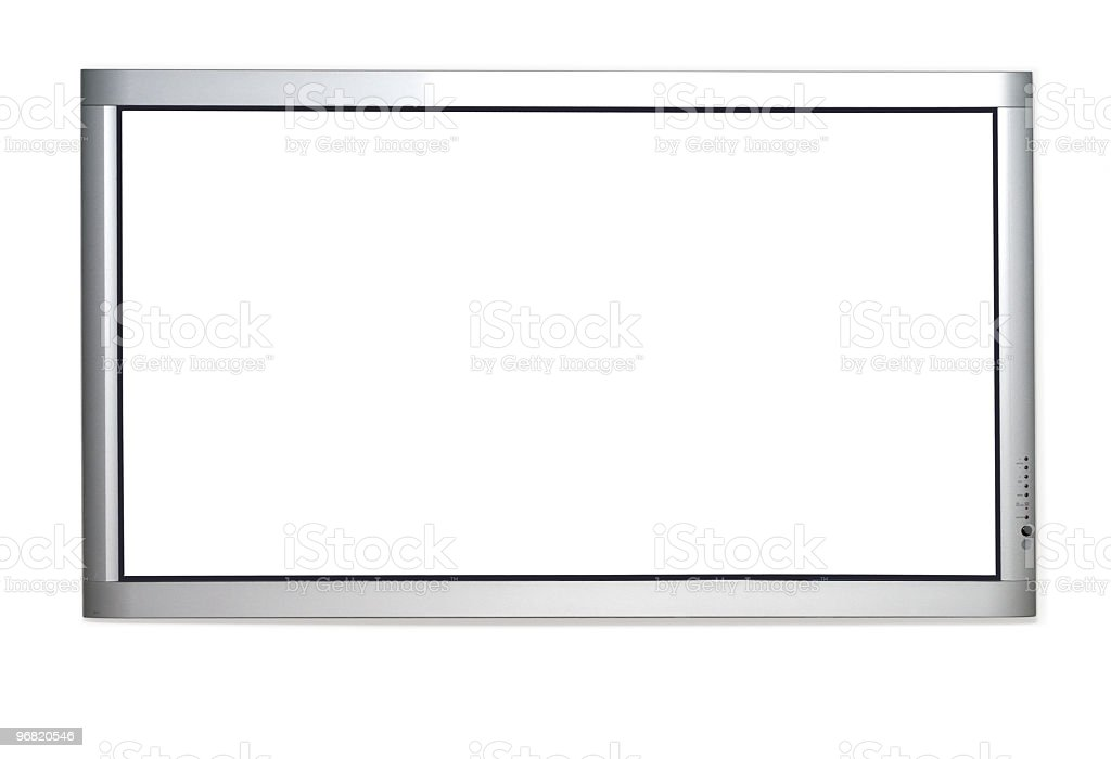 Blank screened plasma TV with silver frame stock photo