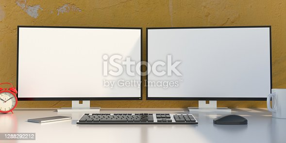 Two blank white computer screens on desktop monitors, keyboard, mouse and smartphone on office desk. Business office workplace, copy space, template. 3d illustration
