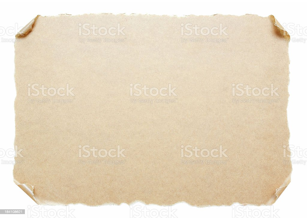 Blank Scroll paper background textured isolated on white stock photo