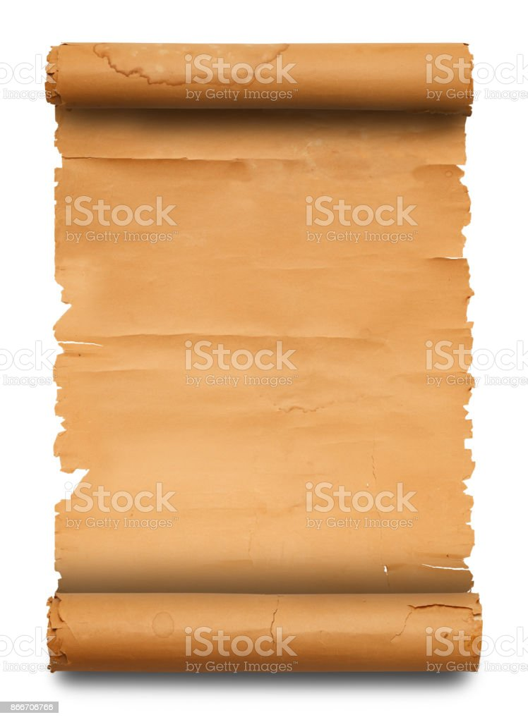 Blank Paper Scroll with Copy Space Isolated on White Background.