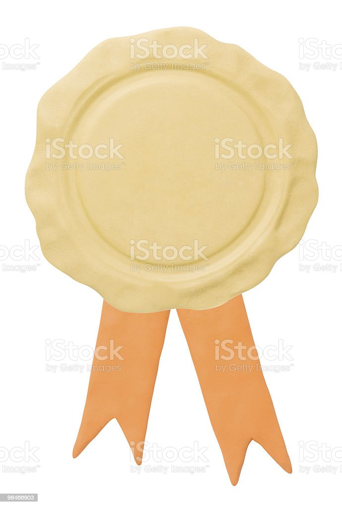 Blank seal with ribbons. Copy space pattern royalty-free stock photo
