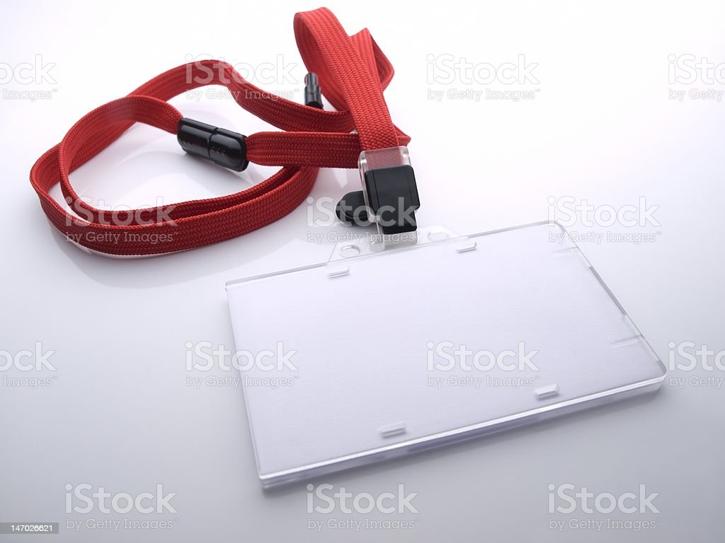 Blank security pass (ID card) holder stock photo
