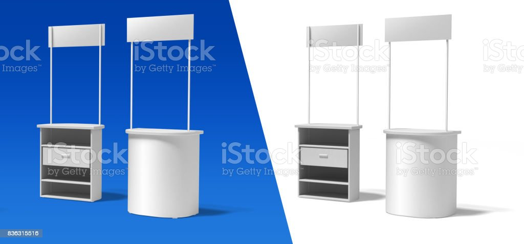 Blank semicircular promotion stands stock photo