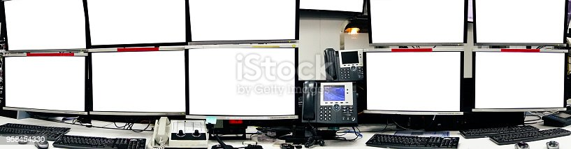 957759714istockphoto Blank server computer screen in modern interior data Center, server room for mocup business and security concept, panorama view. 958454330