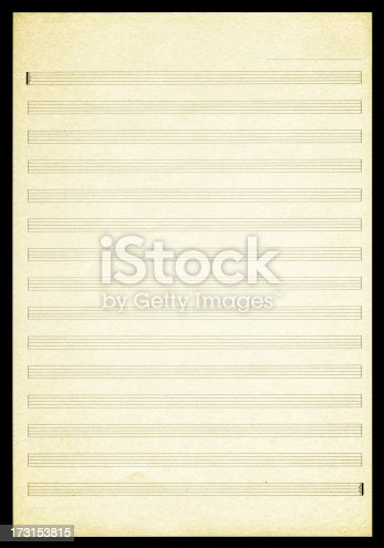 istock Blank Sheet Music paper textured background 173153815