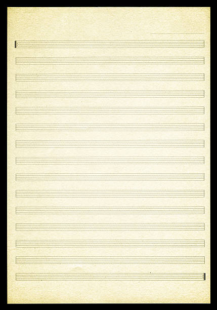 Blank Sheet Music paper textured background ★Lightbox: Textures & Backgrounds sheet music stock pictures, royalty-free photos & images