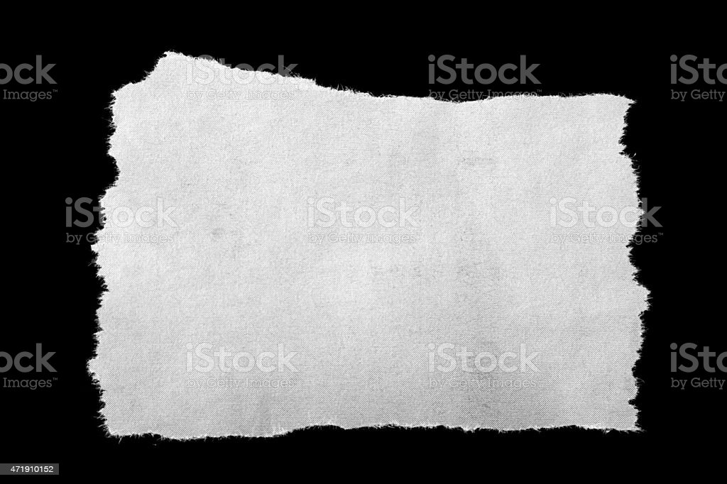 Blank sheet of white torn paper stock photo