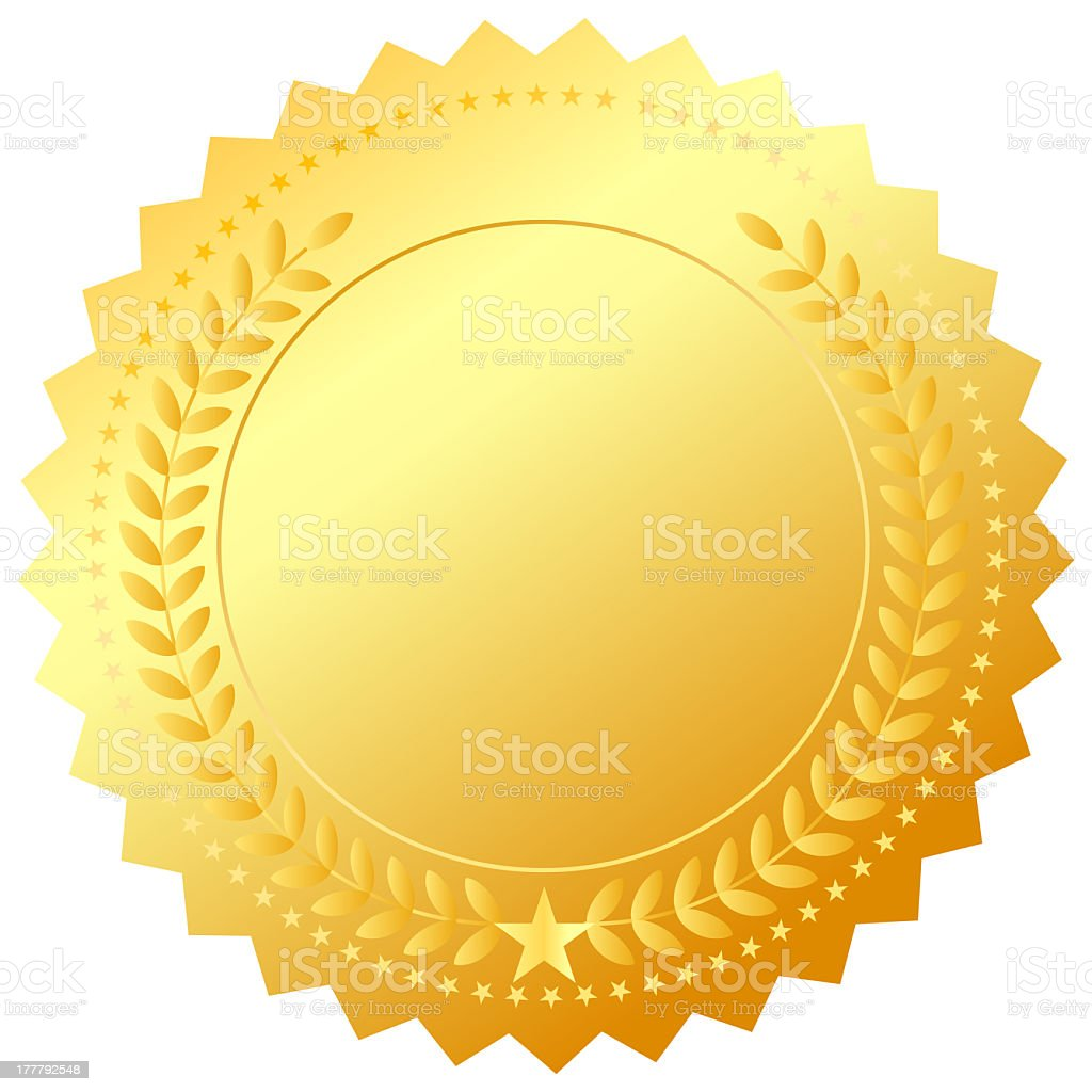 Blank shiny gold medal with stars stock photo