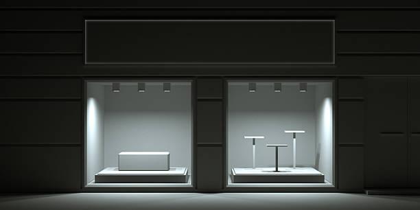 blank showroom facade - facade shop 3d - fotografias e filmes do acervo