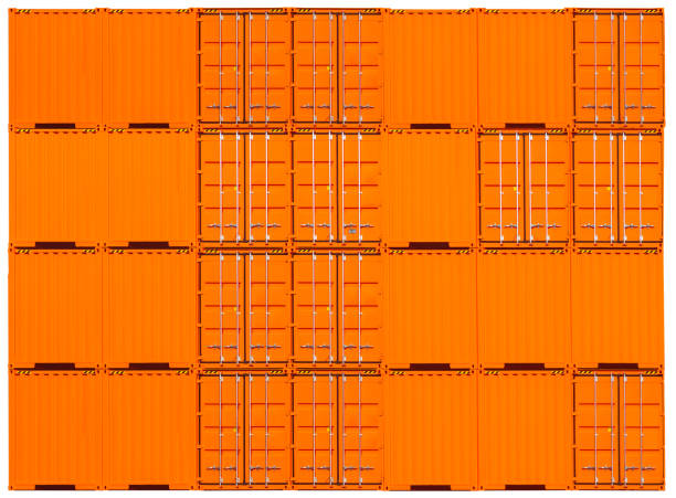 Blank side view of Cargo container stock photo