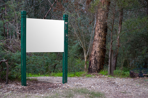 Blank sign along a hiking trail