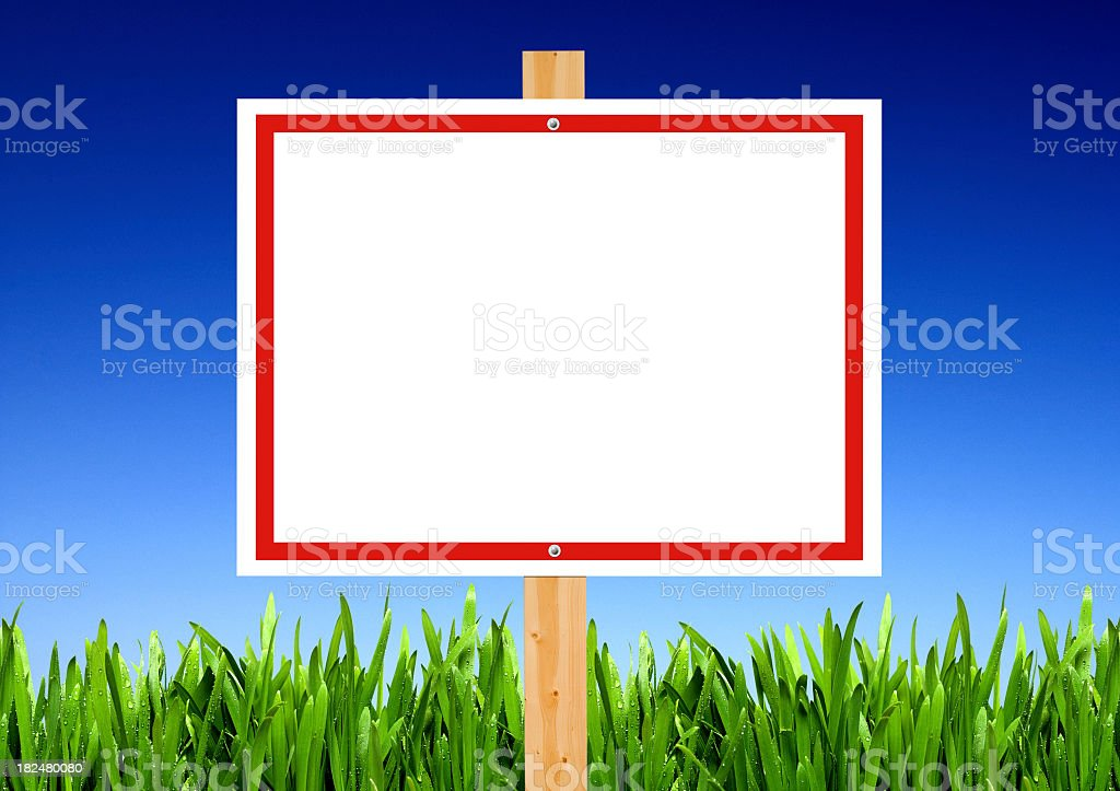 Blank Sign and Grass stock photo