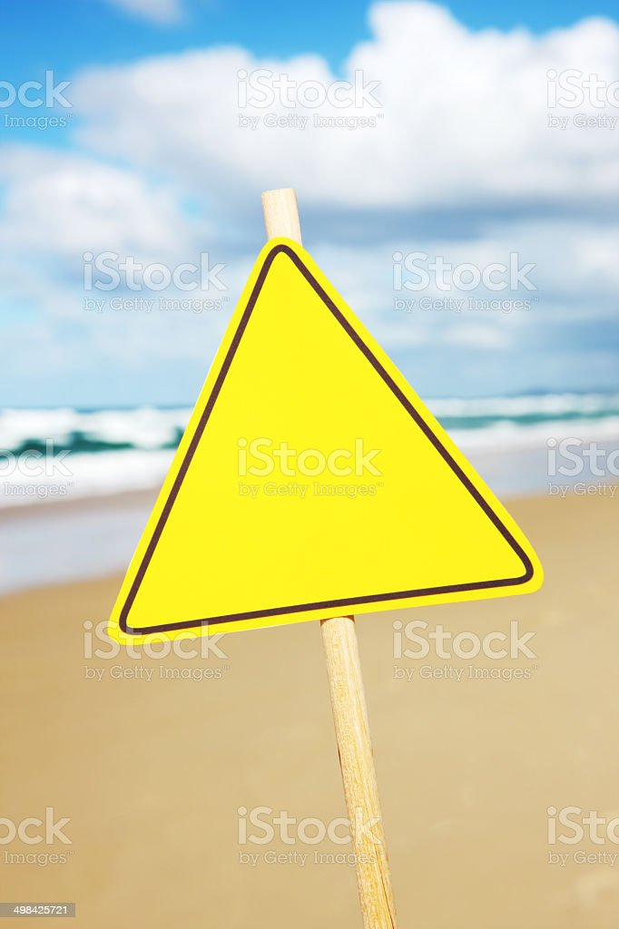Blank Sign at Beach stock photo