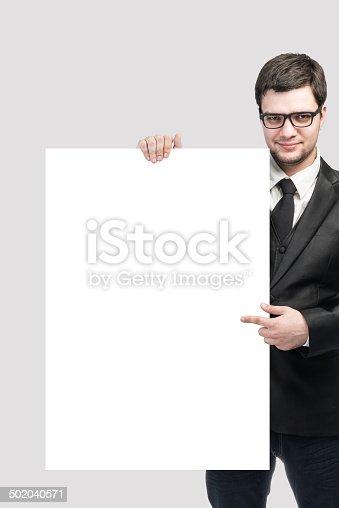 istock blank sign - businessman 502040571
