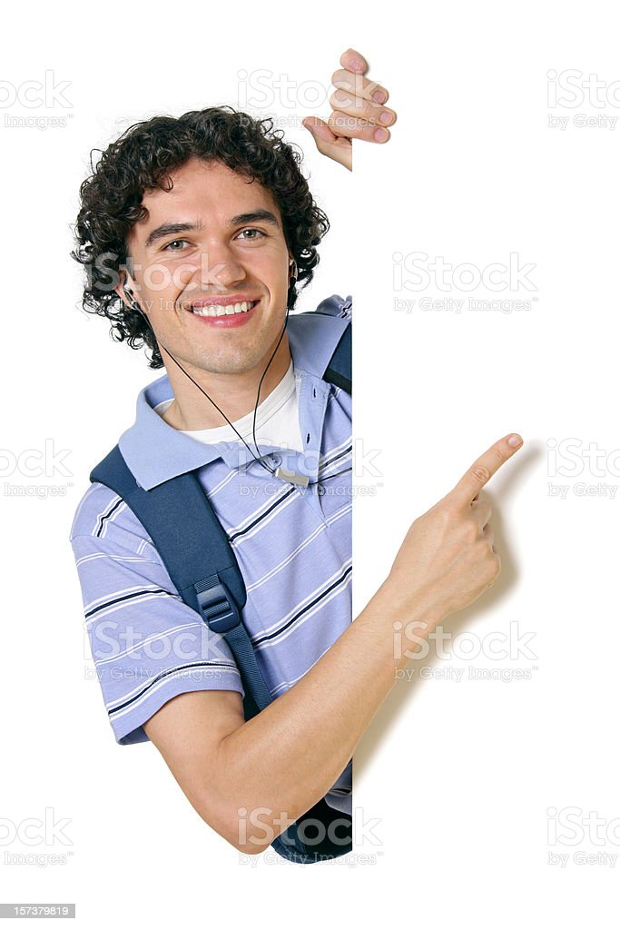 Blank sign - College Student (on white) royalty-free stock photo