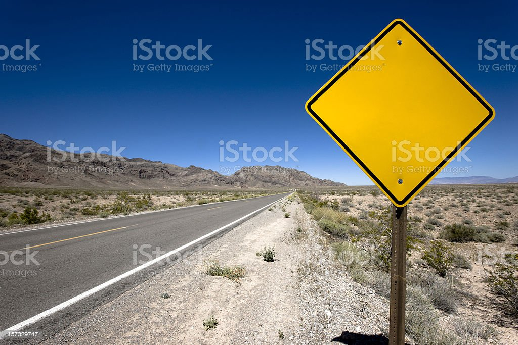 Blank Sign Desert Highway stock photo