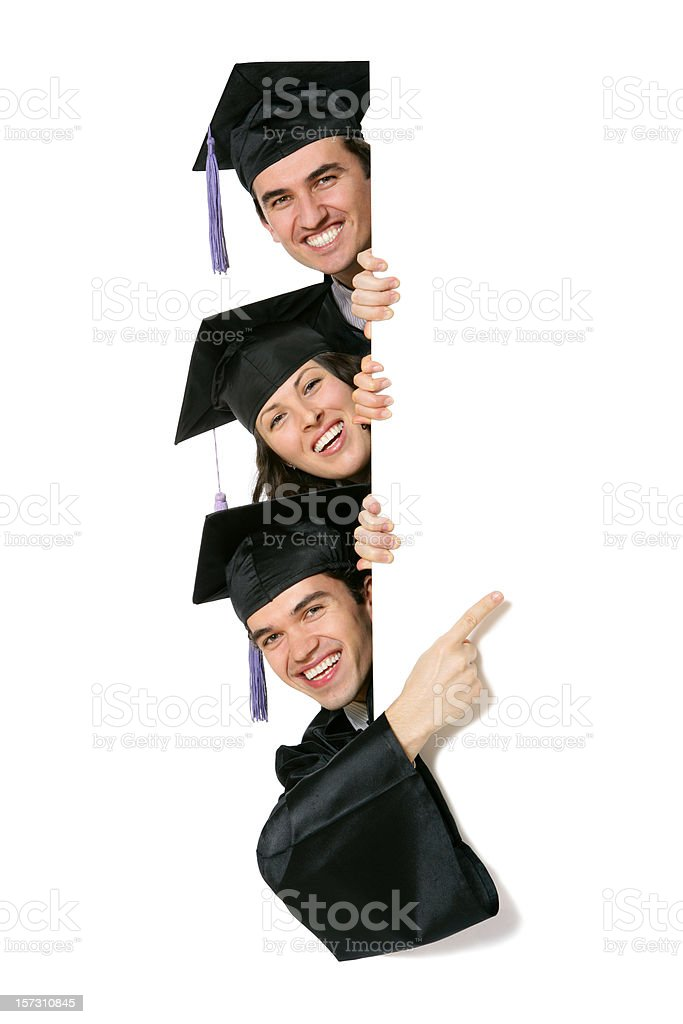 Blank sign - Graduates (on white) stock photo