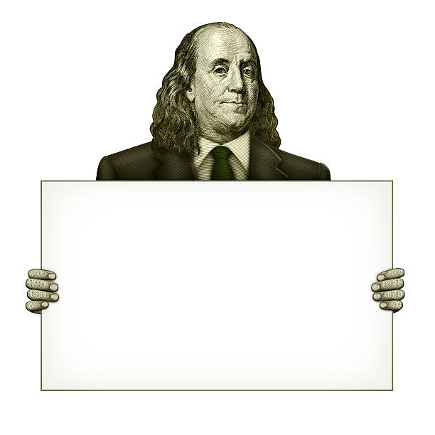Blank Sign Held by Benjamin Franklin Illustration of a blank sign being held by Benjamin Franklin from the one hundred dollar bill. benjamin franklin stock pictures, royalty-free photos & images