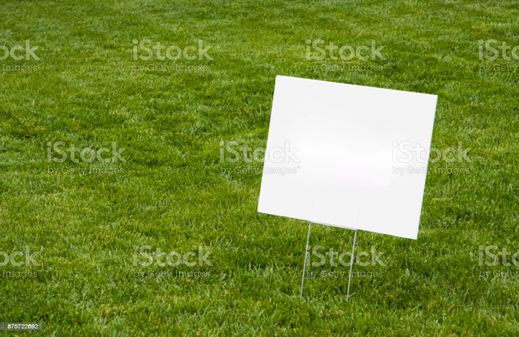 Blank Sign on Lawn stock photo