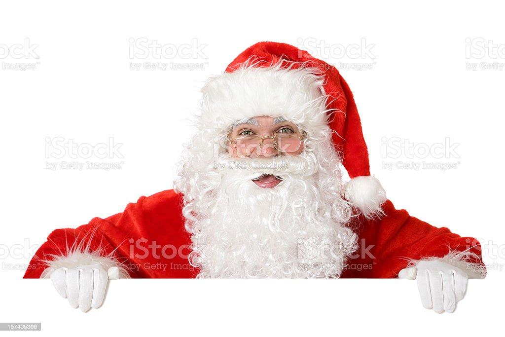 Blank sign - Santa (on white) royalty-free stock photo