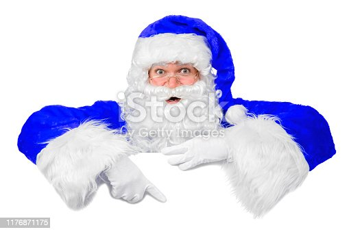 istock Blank sign - Santa pointing (isolated on white) 1176871175