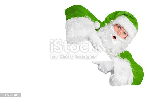 istock Blank sign - Santa pointing (isolated on white) 1177381841