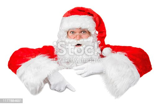 istock Blank sign - Santa pointing (isolated on white) 1177884651