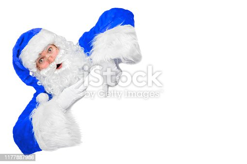 istock Blank sign - Santa pointing (isolated on white) 1177887986