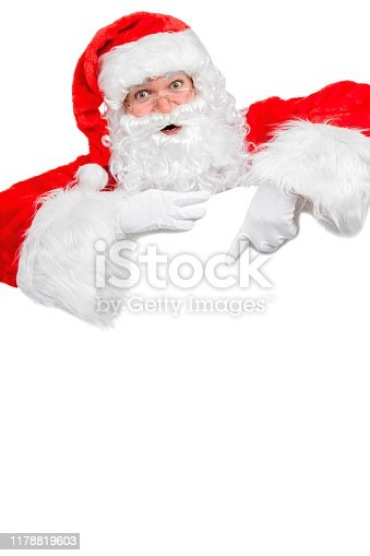 istock Blank sign - Santa pointing (isolated on white) 1178819603
