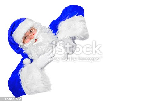 istock Blank sign - Santa pointing (isolated on white) 1178821828