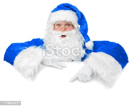 istock Blank sign - Santa pointing (isolated on white) 1179424721