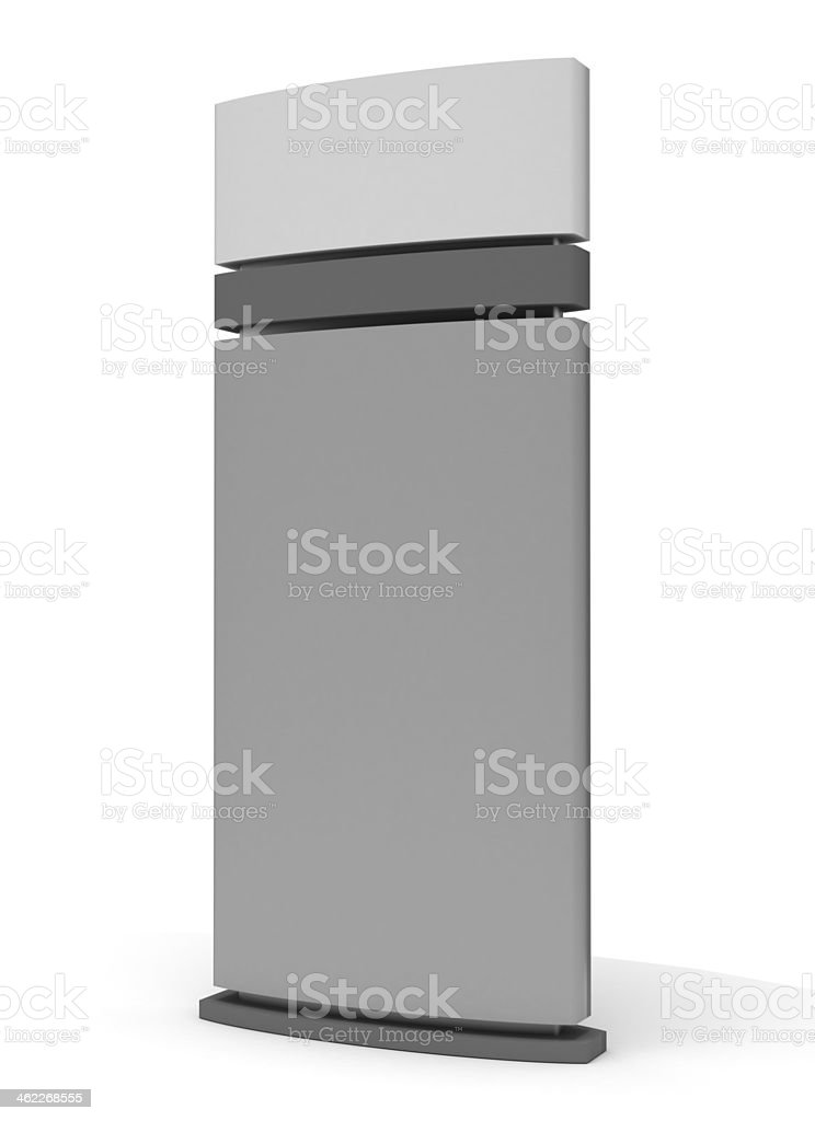 Blank sign tower consisting of different shades of gray stock photo