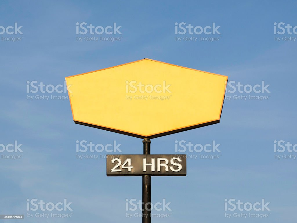 Blank Sign with 24 hour Label stock photo