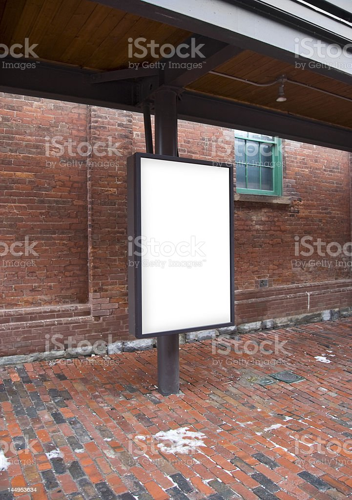 Blank Signage in an Old District stock photo