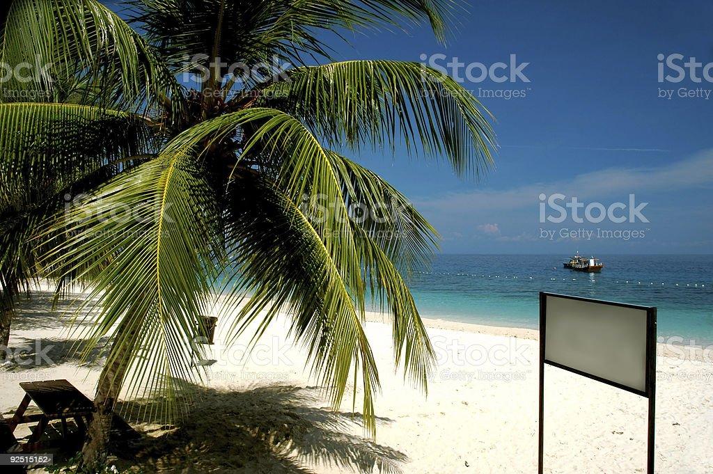 Blank signboard at Beach royalty-free stock photo