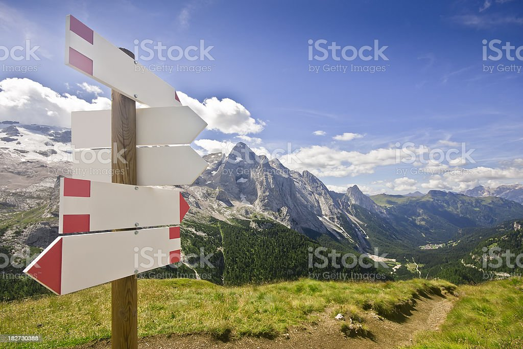 Blank Signpost on Alpine Landscape, Dolomites in Summer royalty-free stock photo